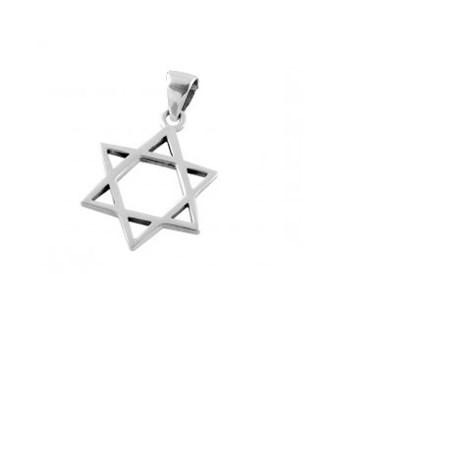 Pingente estrela de David de prata - média