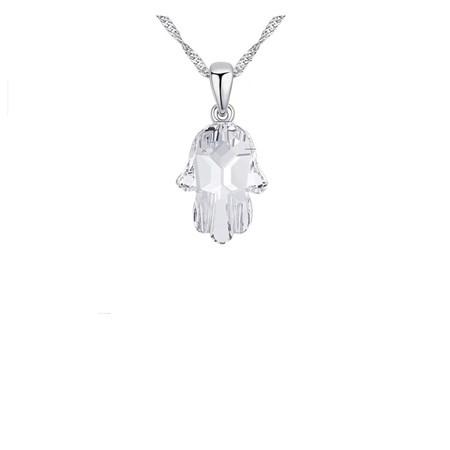 Corrente e pingente de prata hamsa cristal