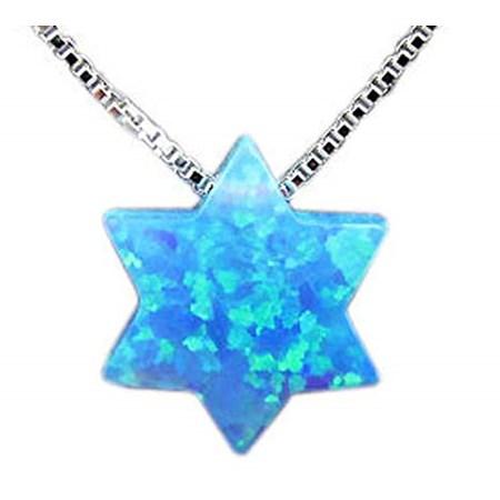 Corrente e pingente pedra opalit em forma de estrela
