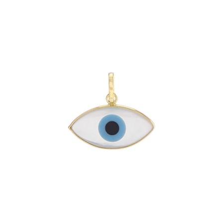 Pingente olho grego de ouro com madrepérola