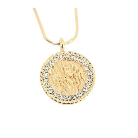 Corrente e pingente Shemá Israel dourado com zircônias