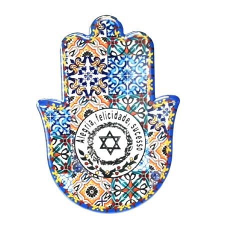 Hamsa de cerâmica colorida - Alegria, felicidade, sucesso