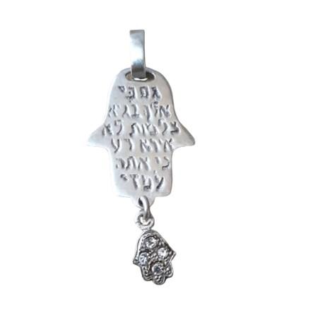 Pingente hamsa prata com salmos