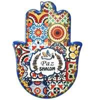 Hamsa de cerâmica colorida -  Paz Shalom