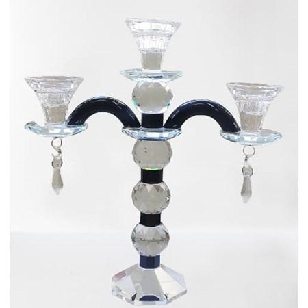 Castiçal de cristal para 3 velas com pingentes
