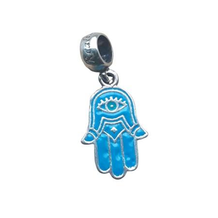 Berloque de prata com hamsa azul