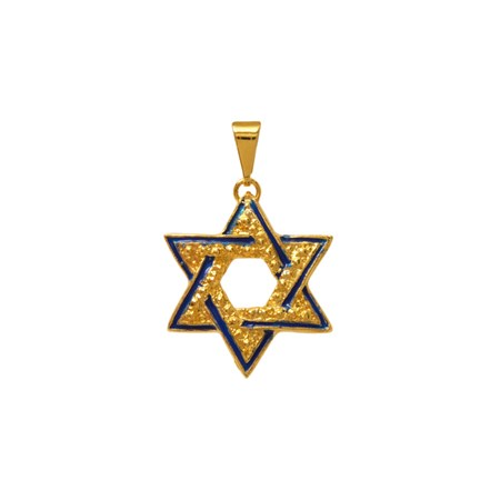 Pingente Estrela de David com resina azul