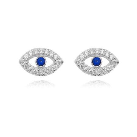 Brinco de prata olho grego com zircônia branca e azul