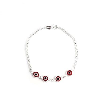 Pulseira de prata com quatro olhos gregos vermelhos