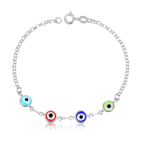 Pulseira prateada com quatro olhos gregos coloridos