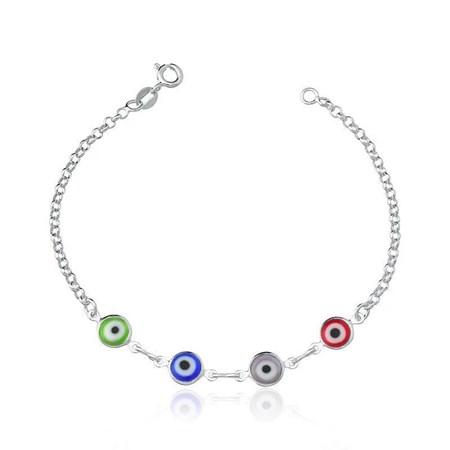 Pulseira de prata com quatro olhos gregos coloridos
