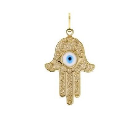 Pingente hamsa com olho decorada dourada média