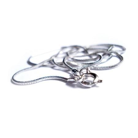 Corrente rabo de rato fina de prata - Tamanho 40 cm.