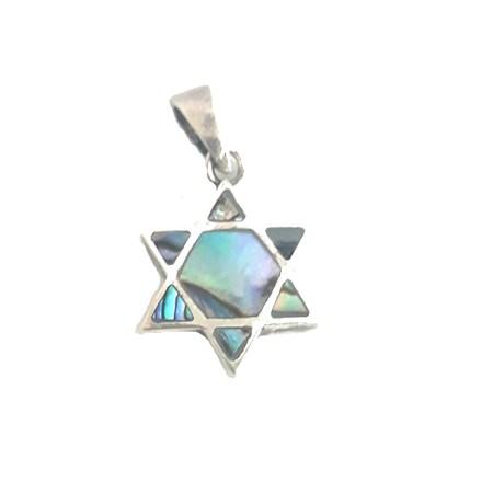 Pingente estrela de David de prata madrepérola colorida