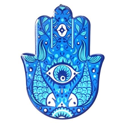Hamsa de cerâmica - azul com peixes
