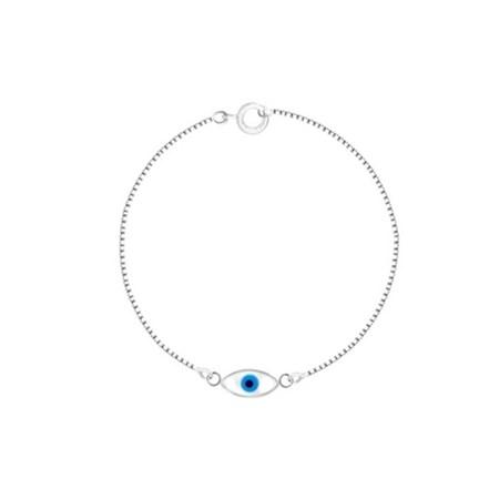 Pulseira de prata olho grego oval madrepérola
