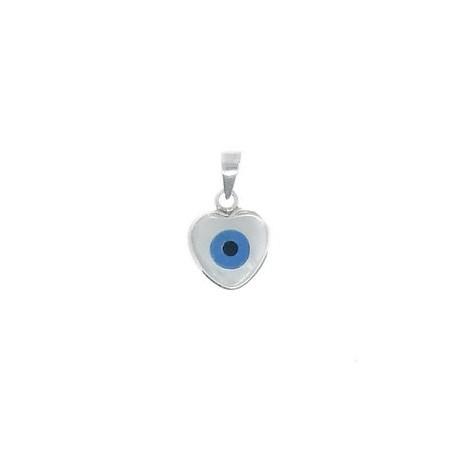 Pingente coração olho grego branco madre pérola