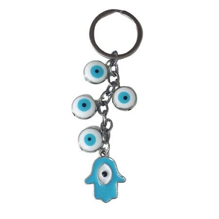 Chaveiro mini olhos e hamsa azul claro