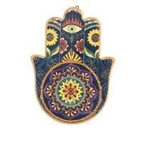 Hamsa de cerâmica - colorida azul e amarela