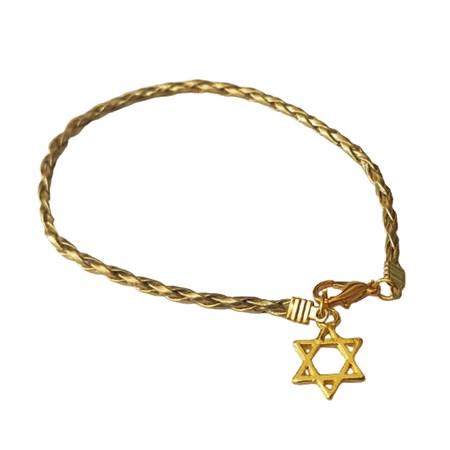 Pulseira fio dourado com pingente de estrela de David