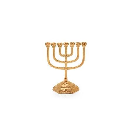 Menorá Jerusalém Decorada Pequena - Dourado