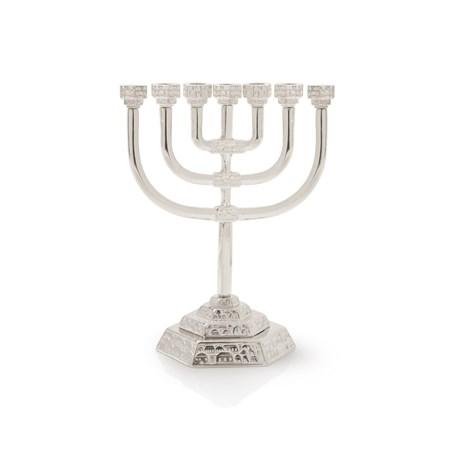 Menorá Jerusalém Decorada Pequena - Prateado