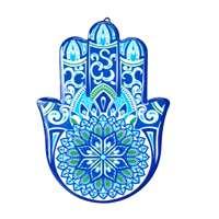 Hamsa de cerâmica - azul mandala