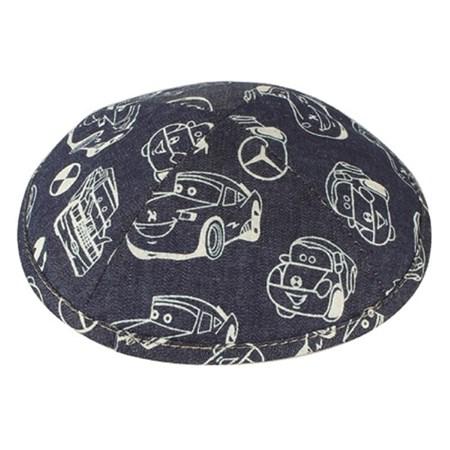 kipá de algodão infantil azul com carros