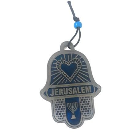 Hamsa esmaltada Jerusalém azul