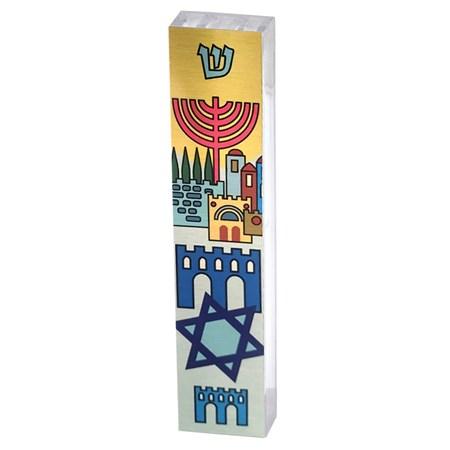 Mezuzá Jerusalém e símbolos judaicos (acrílico) (DJ)