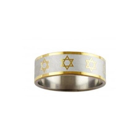 Anel aço estrelas de David dourado - Tam. 26