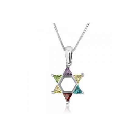Corrente e pingente de prata Estrela de David com pedras coloridas