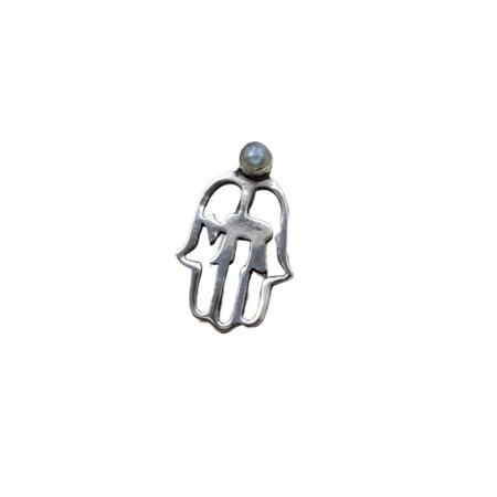 Pingente hamsa vazada com chai de prata