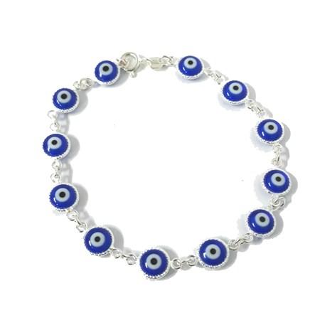 Pulseira de prata com olhos gregos azuis