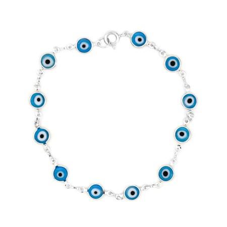Pulseira prateada com olhos gregos azuis claros