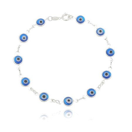 Pulseira de prata com olhos gregos azuis claros