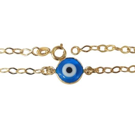 Pulseira dourada com olho grego - Azul Claro