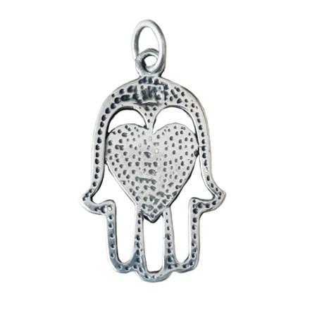 Pingente hamsa vazada com coração de prata
