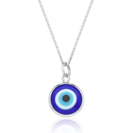 Corrente e pingente de prata olho grego pequeno