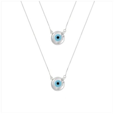 Escapulário de prata olho grego branco madre pérola