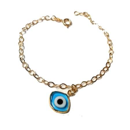 Pulseira dourada com olho grego oval