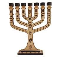 Menorá Jerusalém de madeira pequena