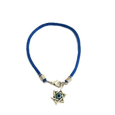 Pulseira azul com estrela de David