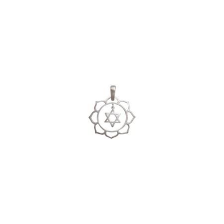 Pingente flor com estrela de David de prata