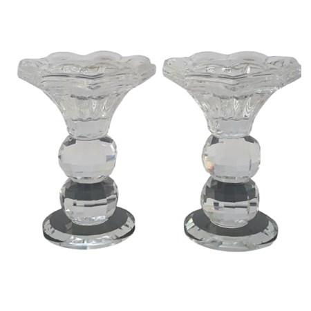 Castiçal de cristal transparente - P