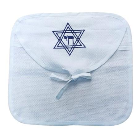 Porta talit com estrela de David bordada  - Azul Marinho