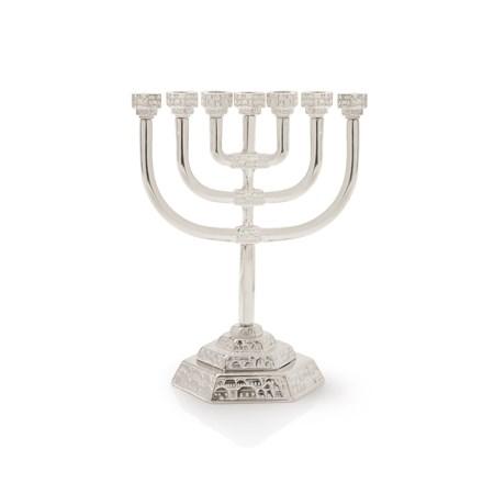 Menorá Jerusalém Decorada - Prateado