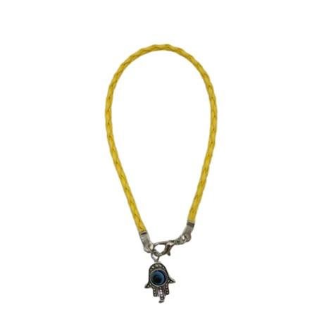 Pulseira fio de couro colorido hamsa - Amarela