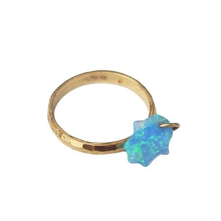Anel dourado com hamsa opalit - Tam. 19