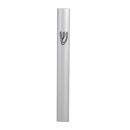 Mezuzá de alumínio lisa 10 cm - prateada fosca